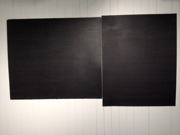 """field"" 2013, wood, card, paint, white charcoal, (74"" x 40"".)"